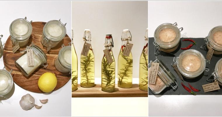 DIY gaver – Hjemmelavet kryddersalt og -olie